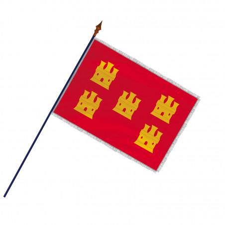 Drapeau Province Picardie avec hampe, franges et galon argent   MACAP