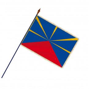 Drapeau Province de la Réunion avec hampe, franges et galon or | MACAP