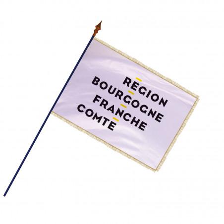 Drapeau Région Bourgogne-Franche-Comté avec hampe et franges or   MACAP