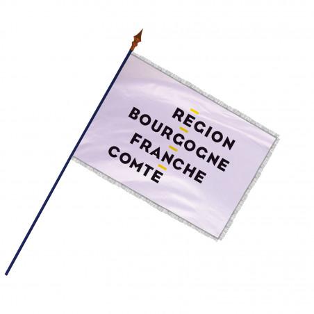Drapeau Région Bourgogne-Franche-Comté avec hampe et franges argent   MACAP
