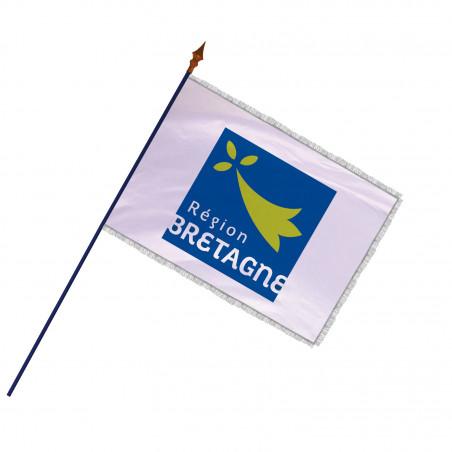 Drapeau Région Bretagne avec hampe et franges argent | MACAP