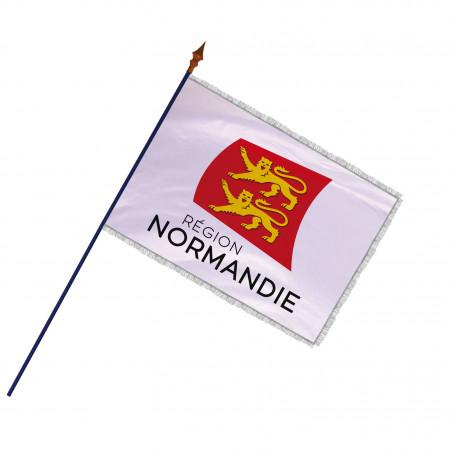 Drapeau Région Normandie avec hampe et frange argent | MACAP