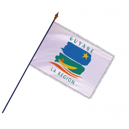 Drapeau Région Guyane avec hampe et franges argent   MACAP