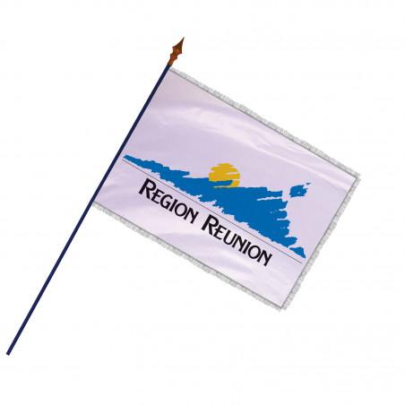 Drapeau Région de La Réunion avec hampe et franges argent | MACAP