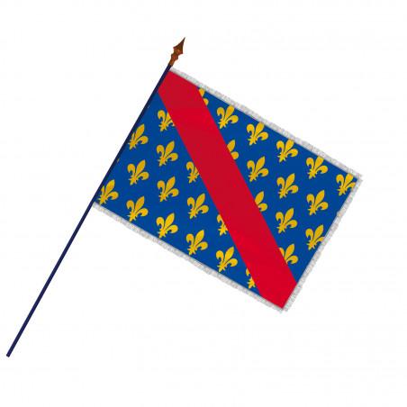 Drapeau Province Bourbonnais avec hampe et franges argent | MACAP