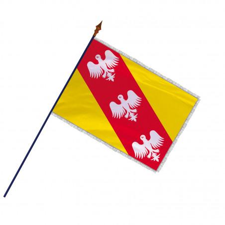 Drapeau Province Lorraine avec hampe et franges  argent   MACAP