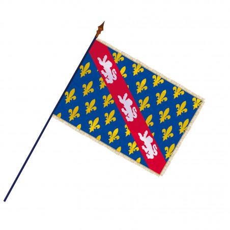 Drapeau Province Marche avec hampe et franges or   MACAP