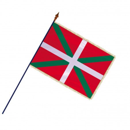 Drapeau Province Pays Basque avec hampe et franges or | MACAP