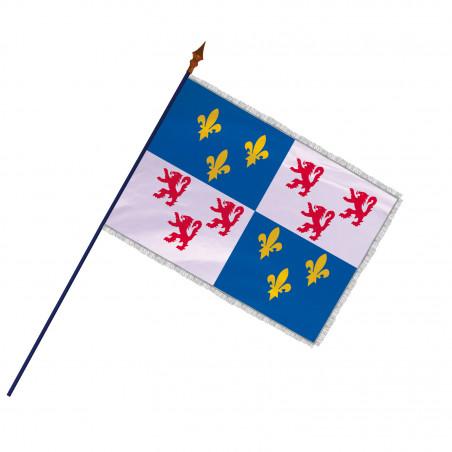 Drapeau Province Picardie avec hampe et  franges argent | MACAP