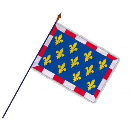 Drapeau Province Touraine avec hampe et franges argent   MACAP