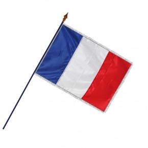 Drapeau Officiel Classique (Français) frange filée argent galon argent - MACAP