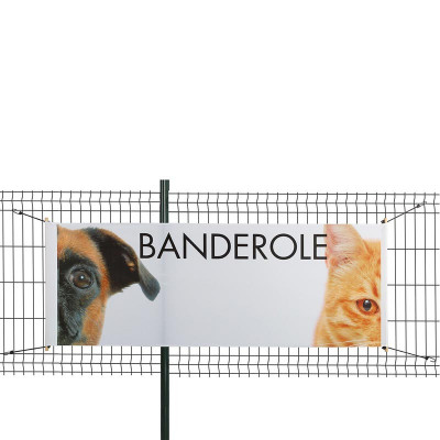 Banderole Intissé & Textile (fixation tourillon bois + sandows)