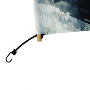 Bâche PVC (fixation tourillons en bois et sandows) - vue fixation - MACAP