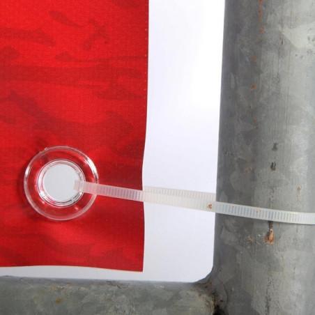 Habillage de barrière SIMPLE FACE (montage oeillets) - vue fixation -MACAP