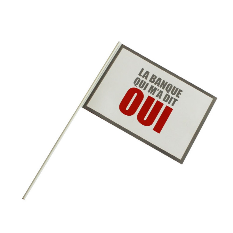 Drapeau Papier personnalisé à agiter (Hampe en plastique) - MACAP