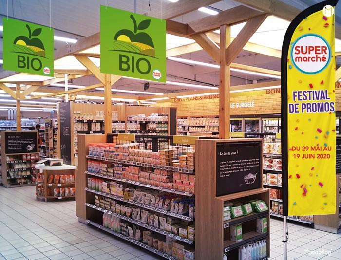 La plv supermarché proposée par Macap s'installe du sol au plafond