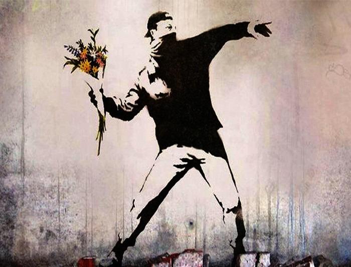 Banksy love is in the air peint en Isräel en 2003