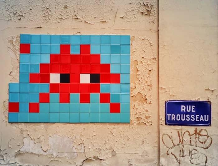 Oeuvre d'Invader rue Trousseau à Paris