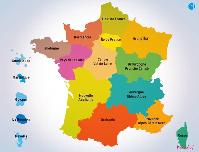 Carte de France des régions françaises