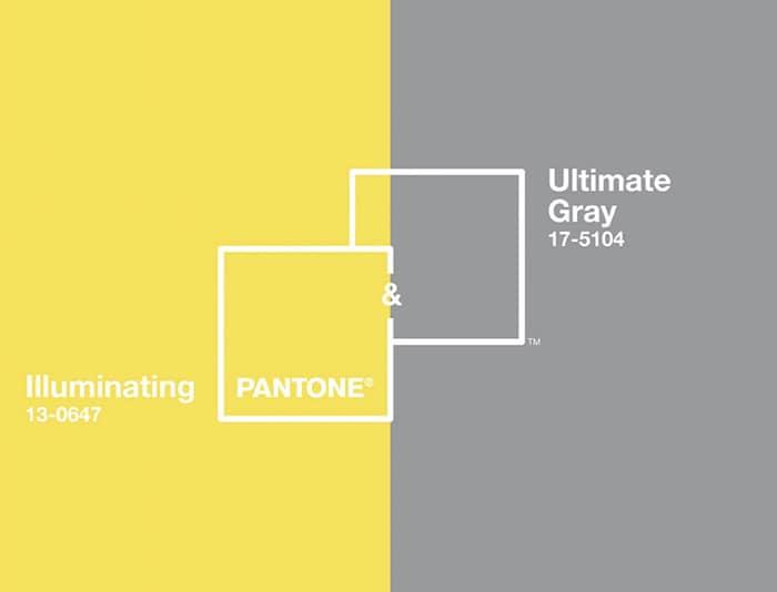 Couleur Pantone 2021 Illuminating et Ultimate Gray