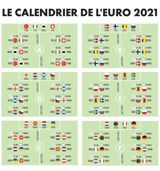 Calendrier Euro de football 2021