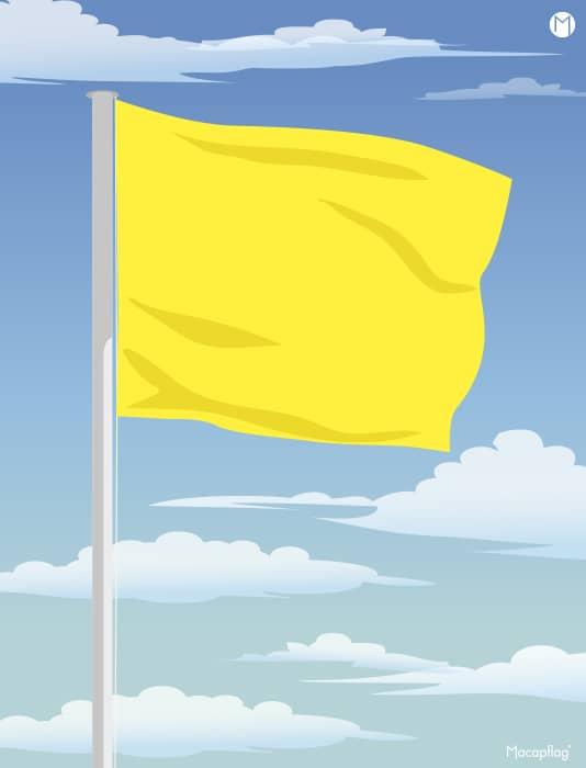Drapeau de baignade jaune rectangulaire