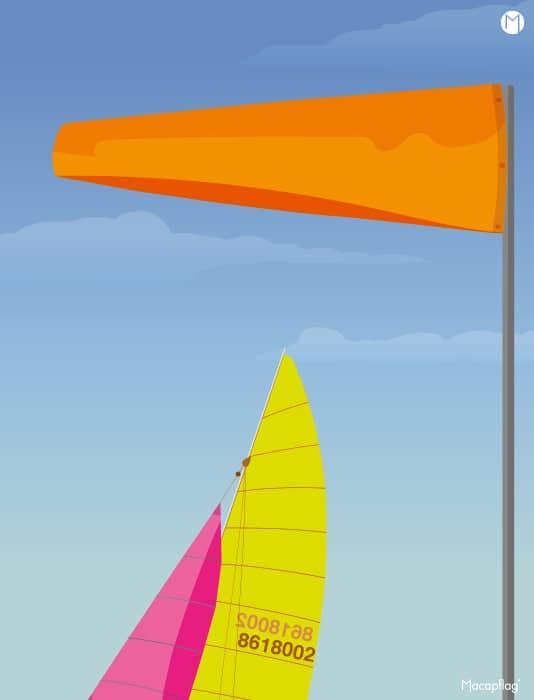 La manche à air orange est utilisée pour la réglementation nautique