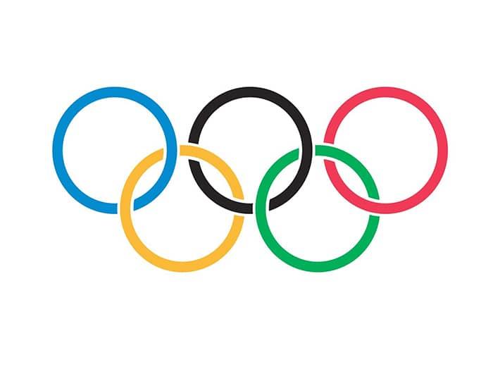 Ancien logo des jeux olympiques avec les 5 anneaux entrelacés