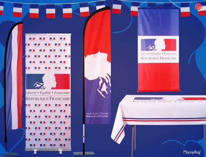 Le drapeau France se décline sur plusieurs supports d'agencement