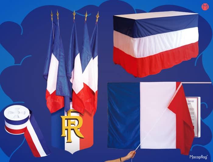 Matériel officiel pour cérémonies aux couleurs de la France