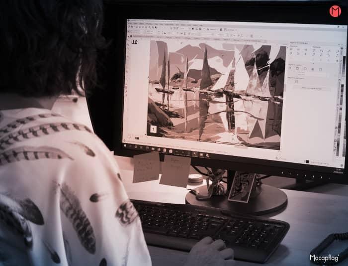 La preparation du fichier d'impression d'un kakemono suspendu