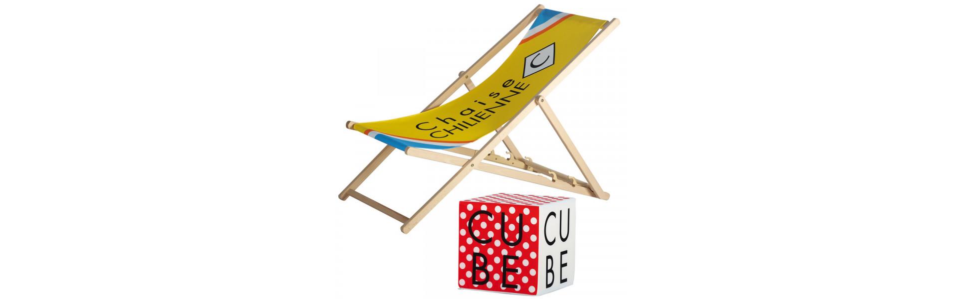 Chaise publicitaire - Cube pouf