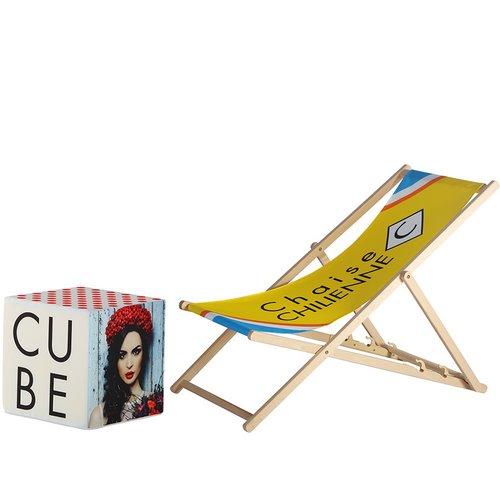 Chaise publicitaire - Cube pouf - MACAP
